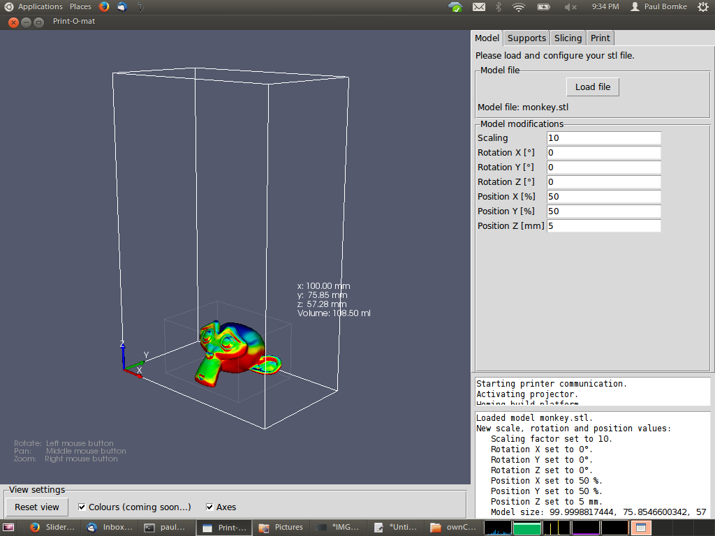 Screenshot of the monkeyprint 3d print software showing the abilities to position an stl file