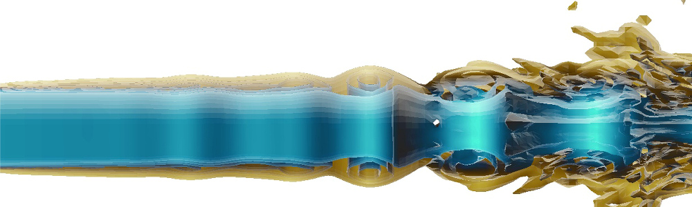 CFD simulation of the turbulent transition of a fluid jet