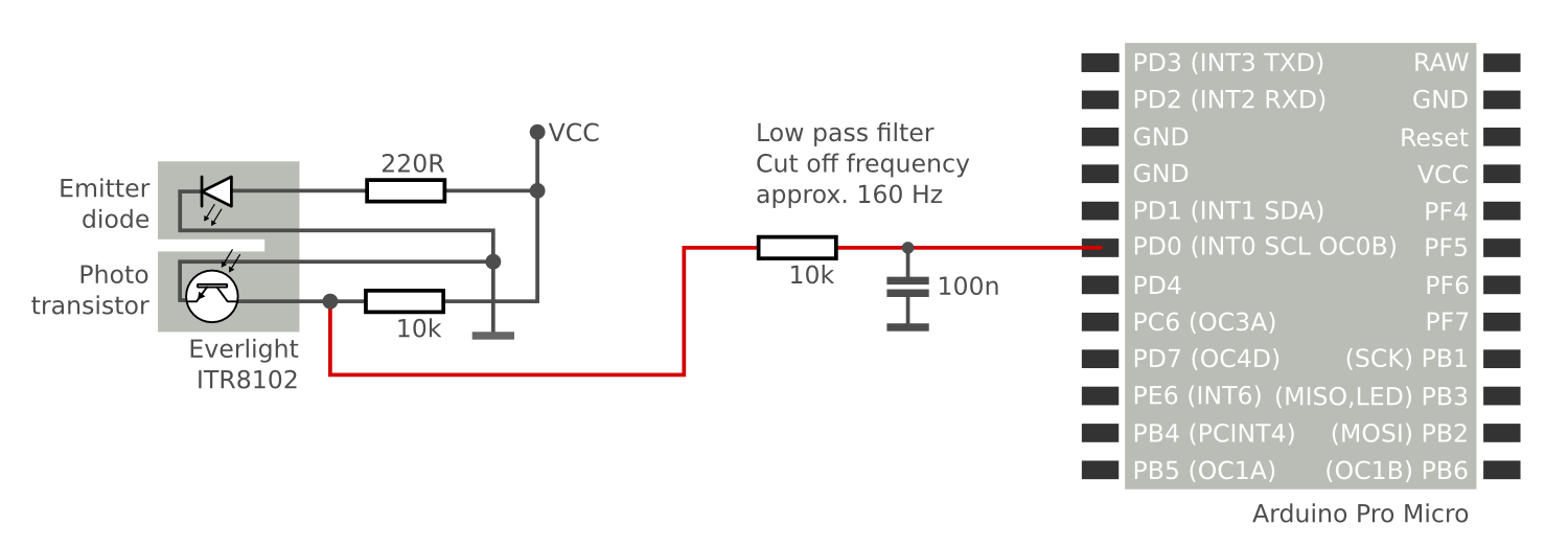 Circuit diagram showing the connection of a photo interrupter to a micro controller using a low pass filter