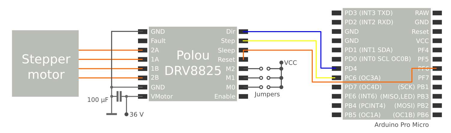 Schematic circuit diagram for connecting a Pololu stepper driver to a micro controller.