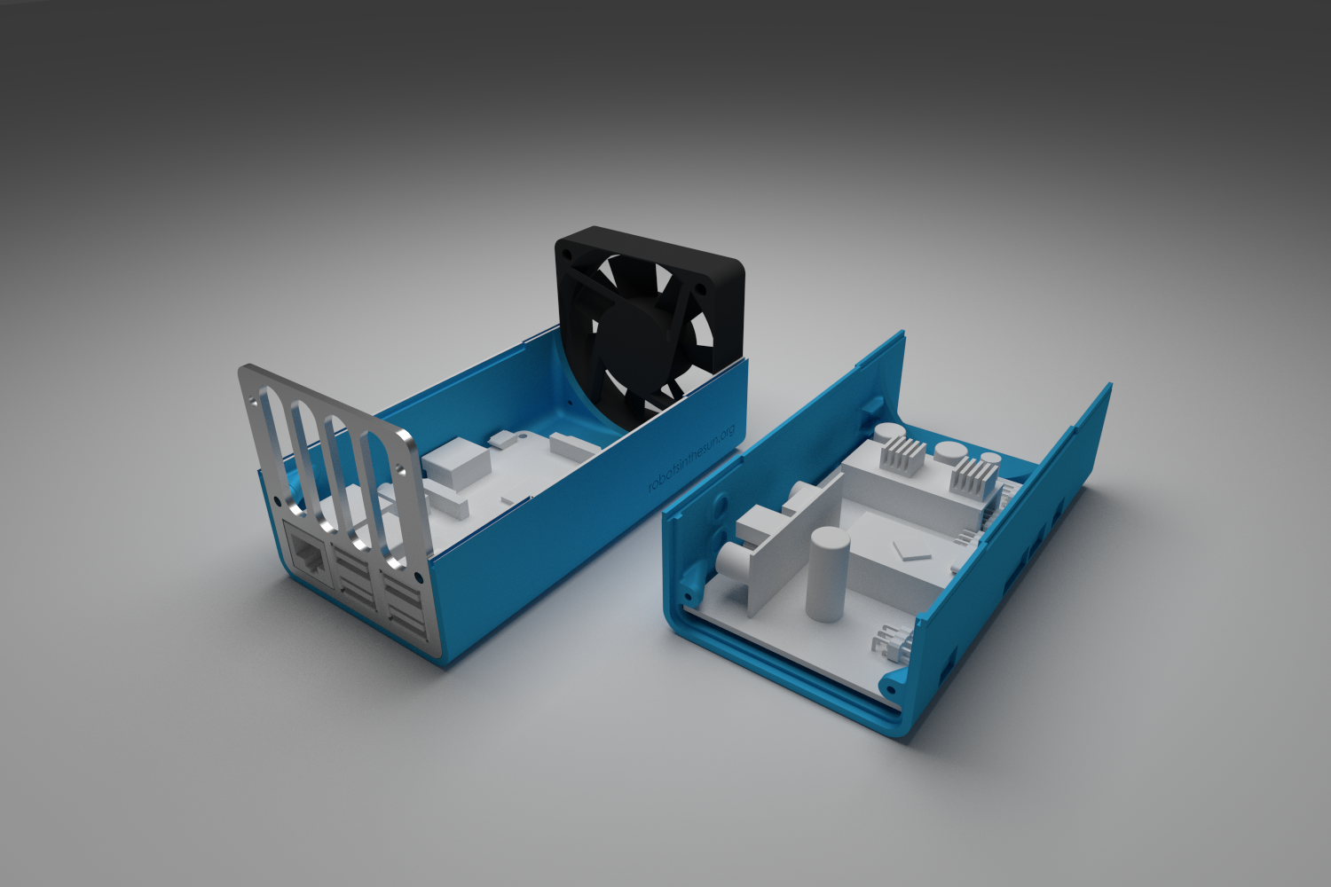 Rendered image showing a 3d printed box which carries electronic boards.
