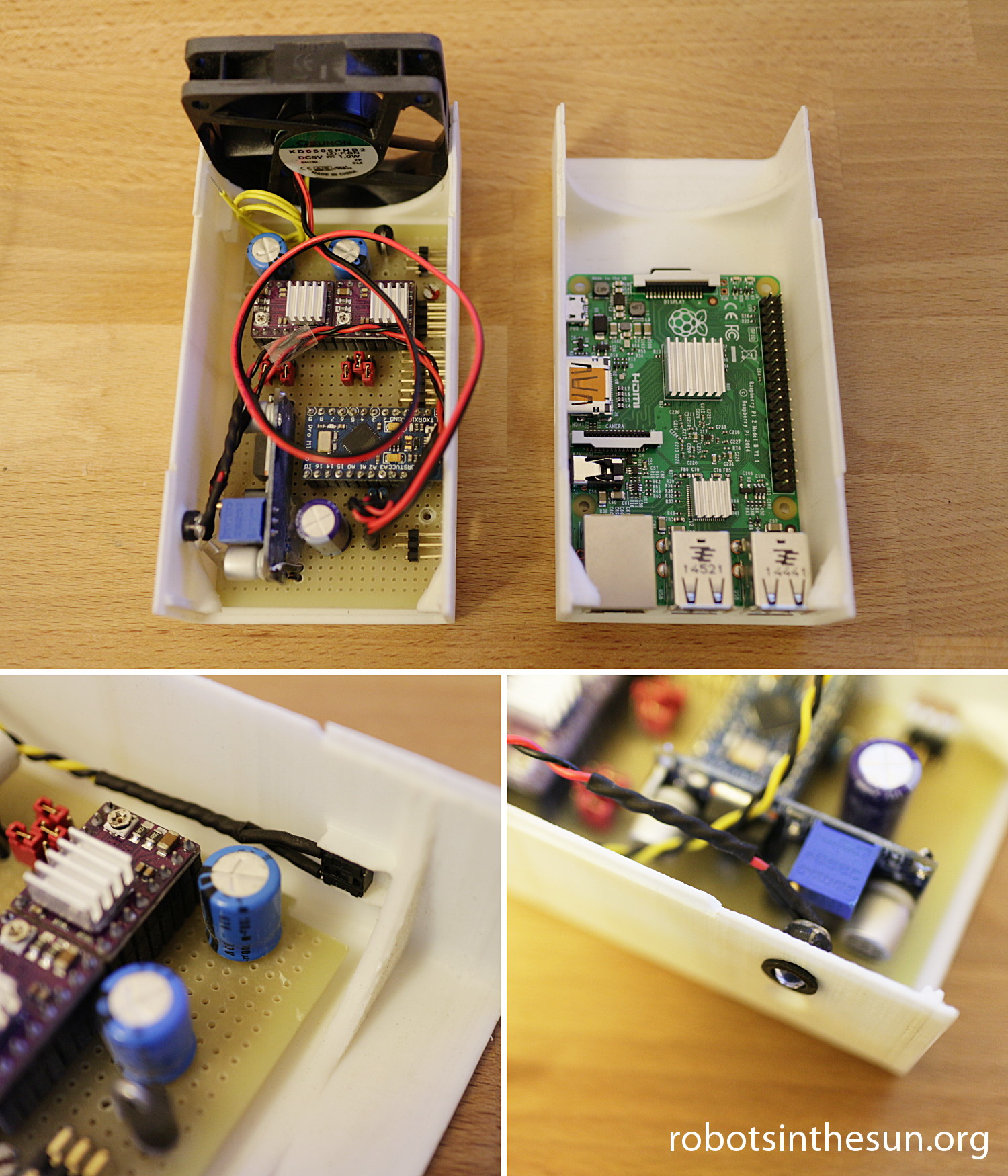 Photographs showing a 3d printed plastics box carrying a 3d resin printer electronics board and a Raspberry Pi 2