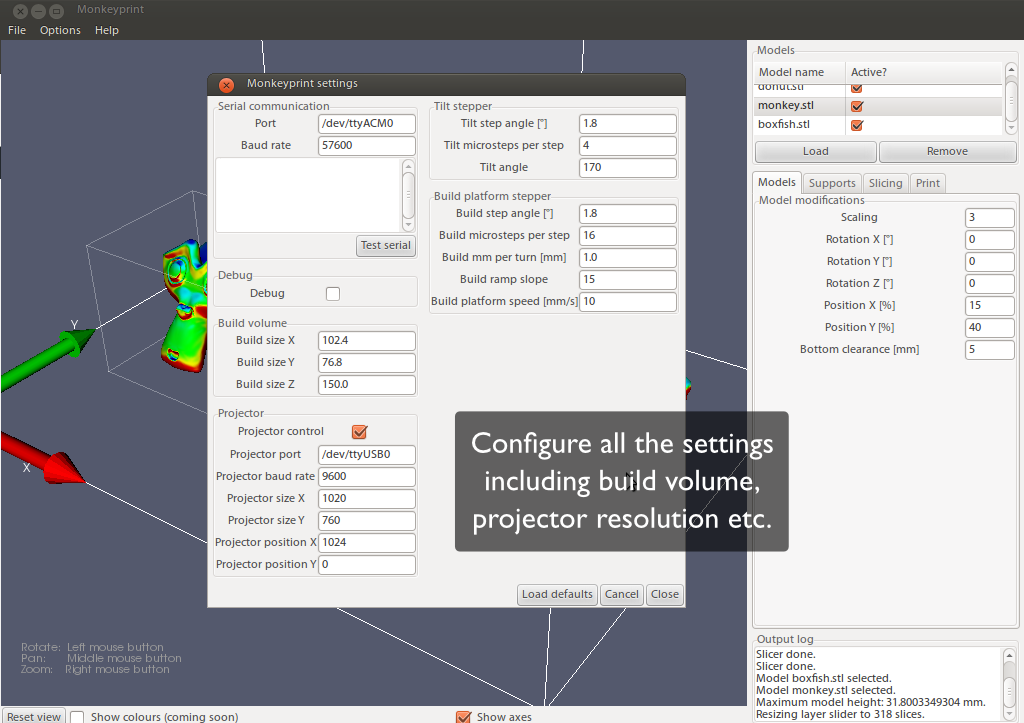Screenshot of Monkeyprint software showing a dialog with text boxes for a variety of 3d printer settings