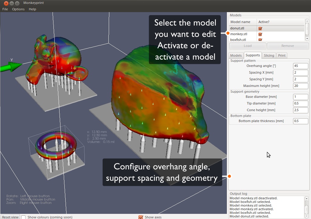 Screenshot of the Monkeyprint software supports tab. Three 3d models can be seen that are connected to the build platform by cylindrical supports.