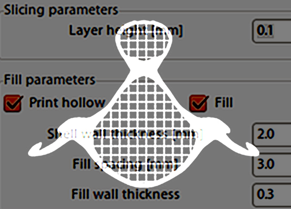 Image showing an overlay of a DLP printer slice image and a software parameter screenshot
