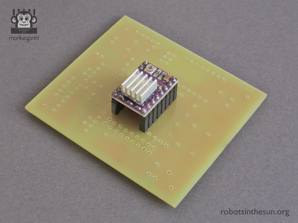 Photograph of the Monkeyprint board with a stepper driver attached.