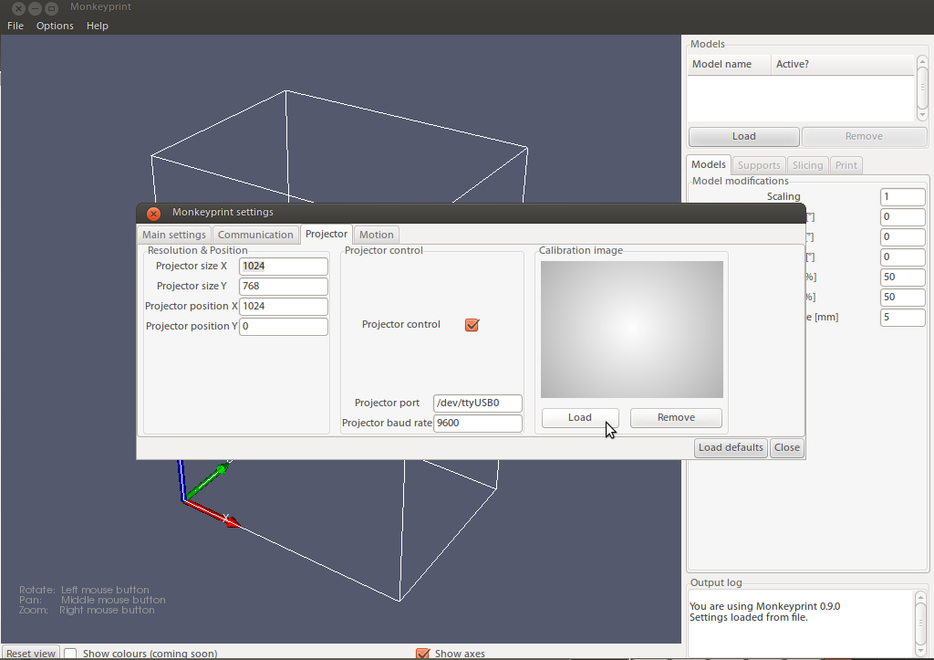 Screenshot of the Monkeyprint 3d DLP printer software showing a settings dialog with the ability to load a brightness calibration image.