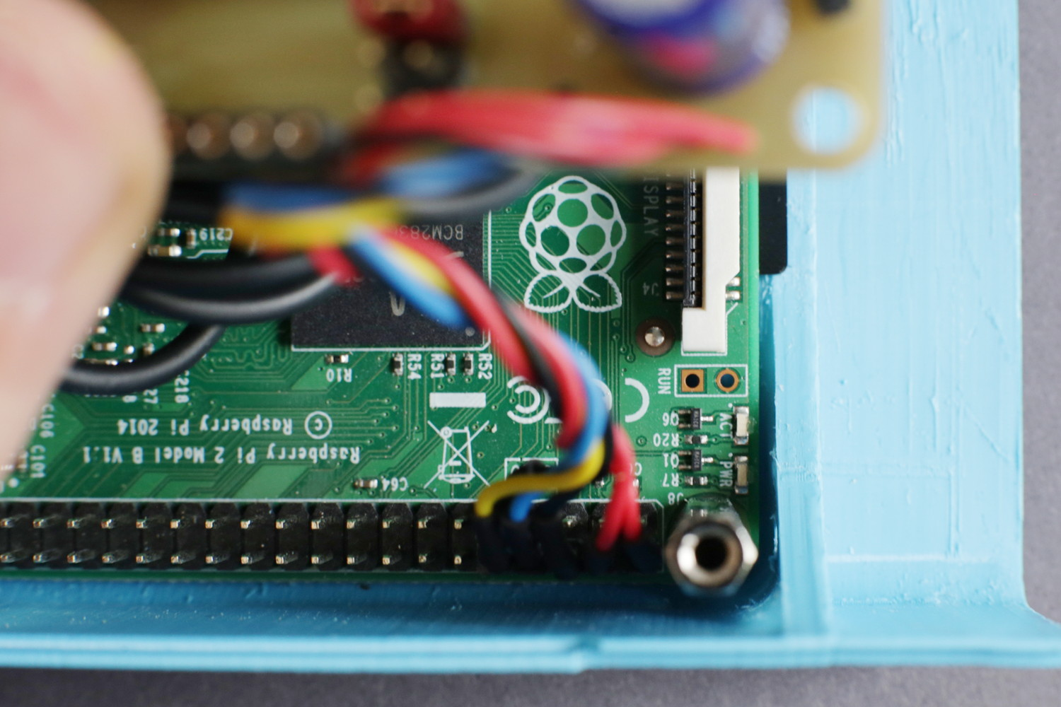 ... and plug it onto the GPIO header of your Raspberry Pi 2.