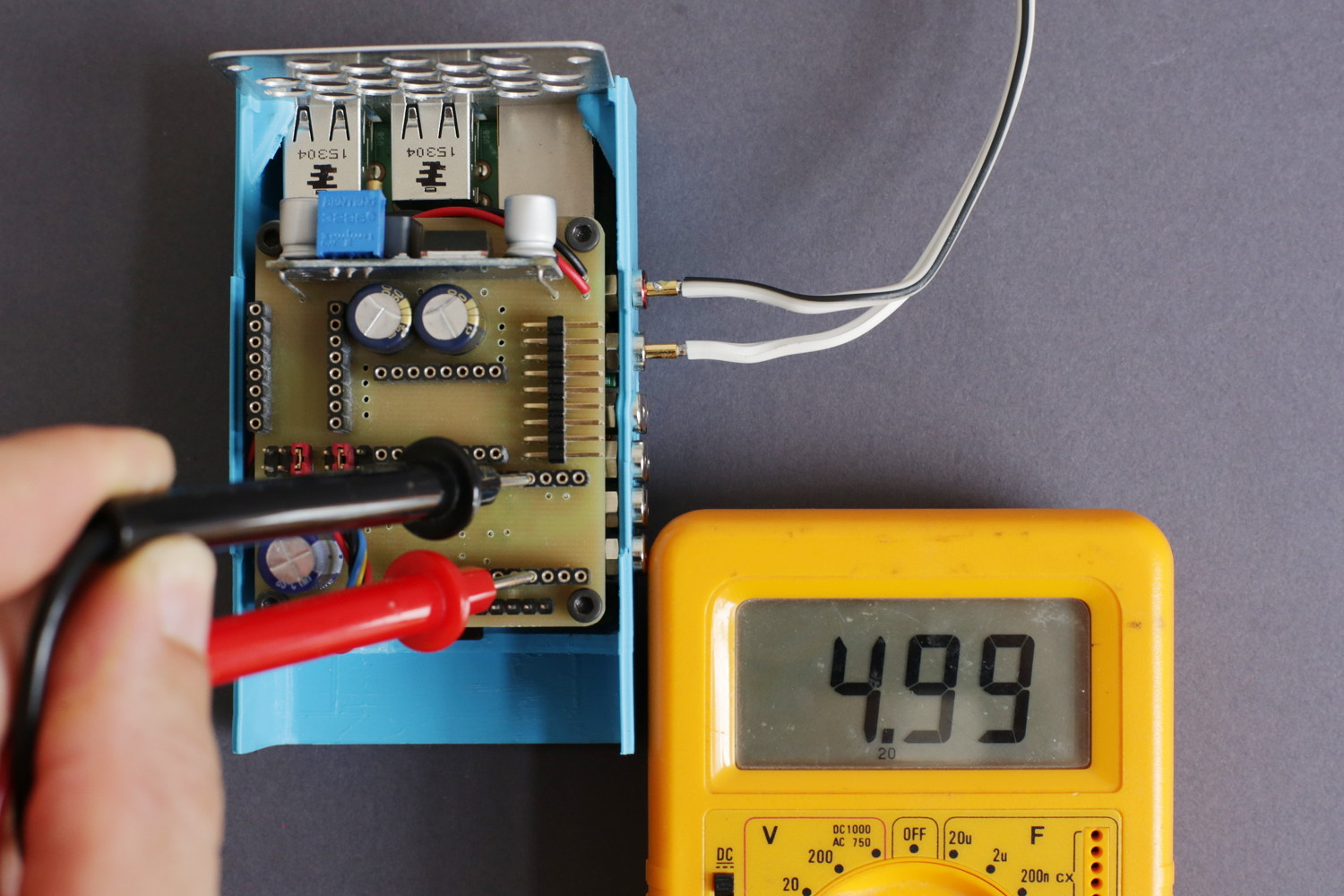 Measure the voltage on the Arduino socket like in the picture...