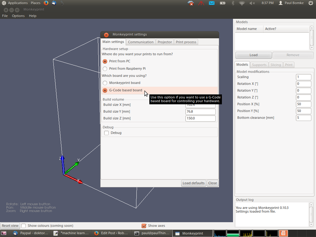 Screenshot of the new G-Code setting in the Monkeyprint DLP printer software
