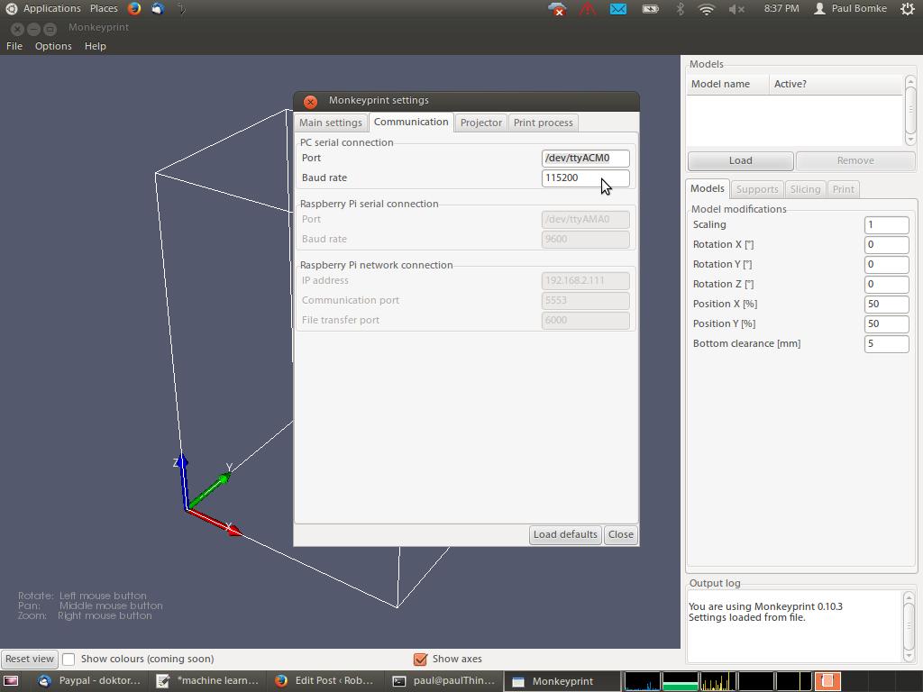 Screenshot of Monkeyprint DLP G-Code board communication settings.