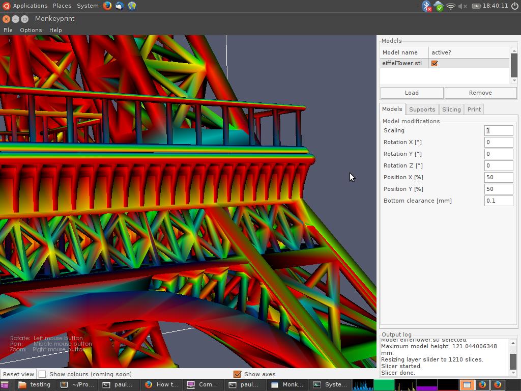 Screenshot showing an Eiffel tower model loaded into the Monkeyprint DLP software