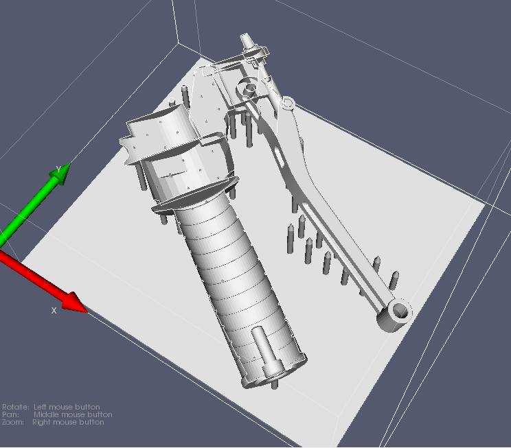 Screenshot of a motor bike handle 3d model sliced with the Monkeyprint DLP 3d print software