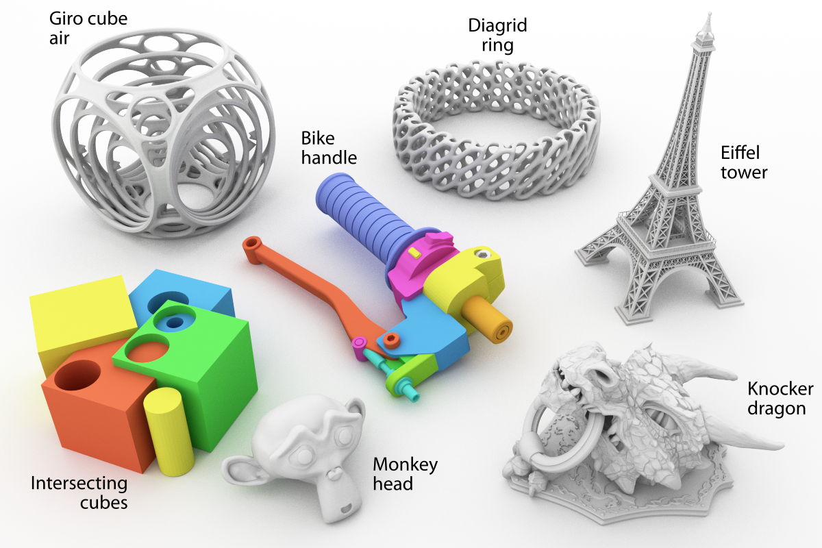 Rendering of different test models used to assess the performance of Monkeyprints new slicer